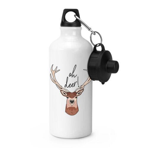 Oh Deer Sports Drinks Bottle Camping Flask Funny Stag Joke Animal