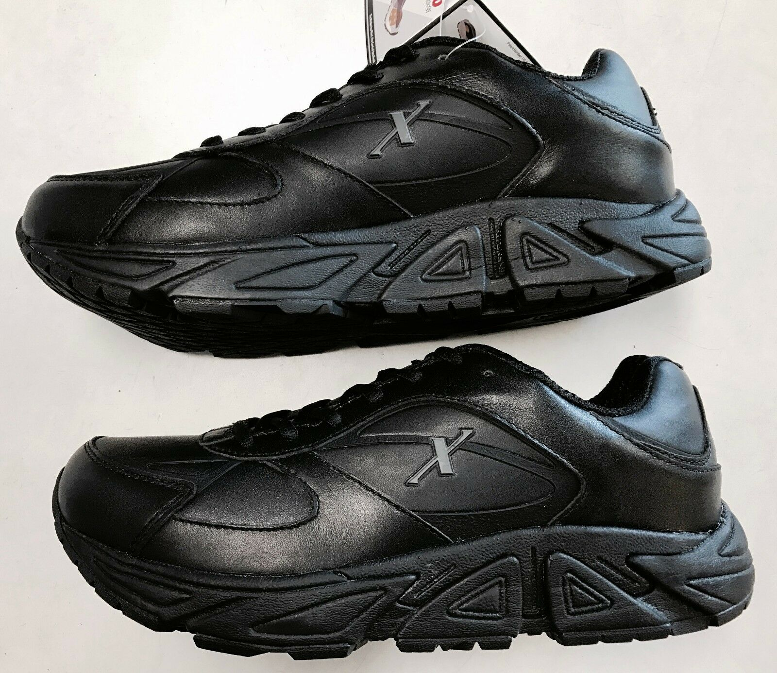 Xelero Genesis Men's Comfort Therapeutic Black All Leather Walking Sneakers- NIB