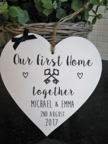 Our First Home Plaque Wooden Heart Gift Personalised House Warming Keys