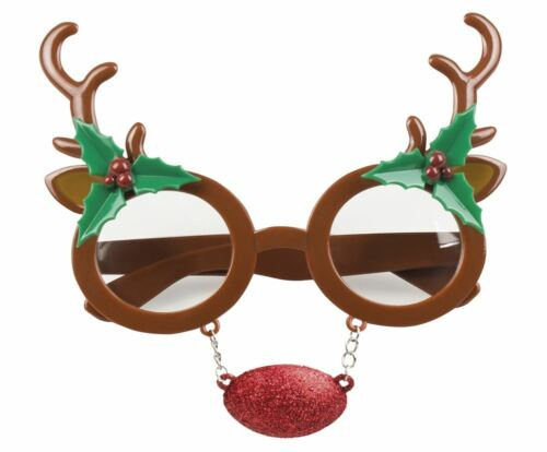 Rudolph Reindeer Glasses /& Nose Christmas Fancy Dress Festive Specs