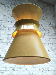 45cm XXL MODERNIST PERFORATED METAL DIABOLO PENDANT LAMP ITALY FRANCE 1950s
