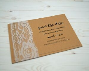 Save-The-Date-Card-with-envelope-Includes-Printing-Rustic-Lace-Kraft-Paper