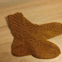 Socken Strümpfe handgestrickt Zopfmuster ocker Lurex Glitzer Gr.40/ 41 Acryl