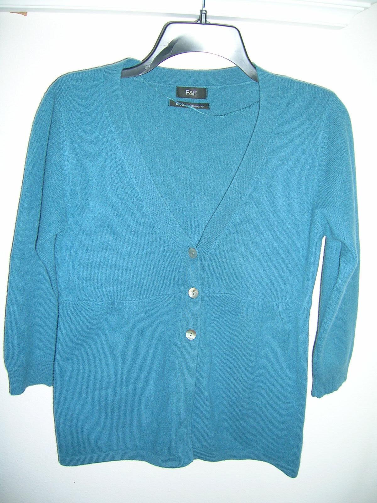 F & F 100% Cashmere Teal Empire Waist 3 Button Cardigan Knit Sweater - sz 10 S M