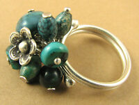 Turquoise Silver Cluster Ring. Fine/ Sterling Silver. Adjustable-fits All Sizes.