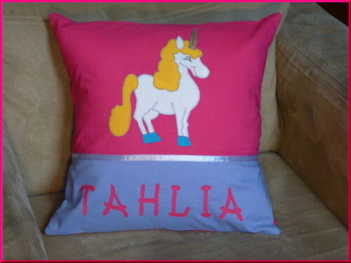 GIRLS PERSONALISED NAME CUSHION COVER CHILD/'S UNICORN KINDY PILLOW