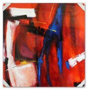 Quadro-a-Olio-Dipinto-Riepilogo-Arte-con-Telaio-90x90-cm