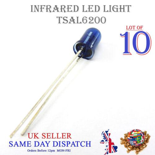 10x 940nm Infrared LED Lamp Blue 5mm IR High Power Emitter TSAL6200