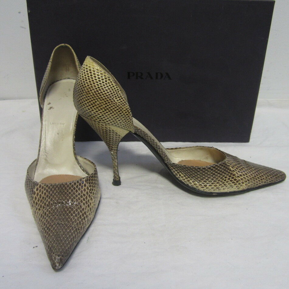 PRADA beige & marron snakeskin pointed toe pumps heels chaussures sz 38 8