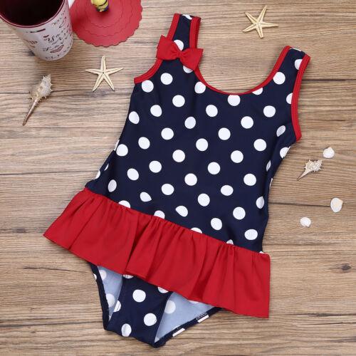 Baby Mädchen Einteiler Badeanzug Polka Dots Schwimmanzug mit Rüschen Bademode