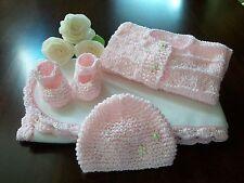 Handmade Crochet Baby Blanket, Baby Afghan Set, Newborn Hand Knit ( pink )