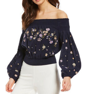 f068059a54e6a Image is loading Free-People-OB800769-Saachi-Smocked-Off-Shoulder -Embroidered-