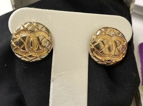 Vintage Authentic Chanel Button Quilted Earrings P