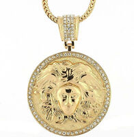 Iced Out Medusa Head Medallion W/ 30 & 36 Chain Necklace Hiphop Pendant
