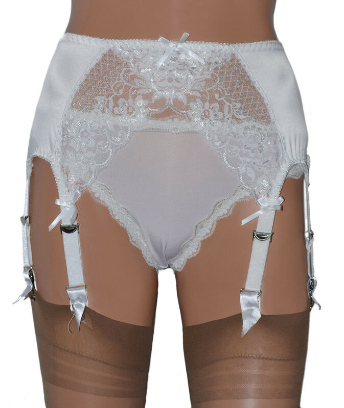 Frank White 8 Strap Suspender Belt In Satin With White Lace Front 5 Sizes Up To Uk 26
