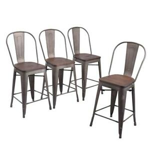 Set Of 4 24 Metal Bar Stools High Back Bar Chairs Counter Height