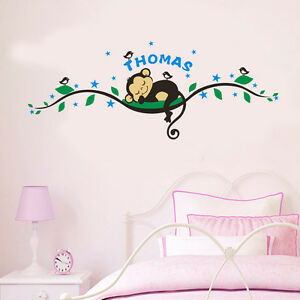 Details about Wall Stickers custom name cheeky monkey birds vinyl decal  decor Nursery kids