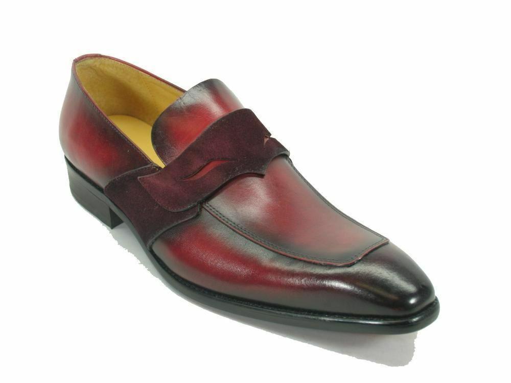 Carrucci Piel Hombre Moderno Mocasines Céntimo Burdeos Zapatos Vestido Ks503-40
