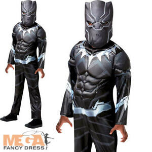 Image is loading Deluxe-Black-Panther-Boys-Fancy-Dress-Avengers-Superhero-  sc 1 st  eBay & Deluxe Black Panther Boys Fancy Dress Avengers Superhero Childrens ...