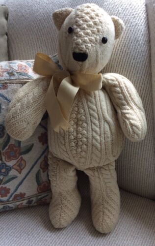 """Hand Made Cable Knit Wool? Sweater Plush Teddy Bear Button Eyes 19"""" Nicely Made"""