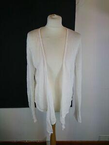The-White-Company-Size-Medium-White-Long-Sleeve-Waterfall-Linen-Cardigan