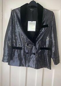 Blazer Tuxedo Taglia Scialle Bnwt Metallic Zara Colletto Shiny M Velluto Paillettes xICwqBF0