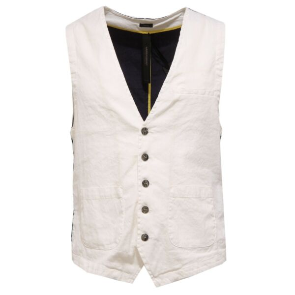 0213w Gilet Uomo Messagerie Linen/cotton White/black Waistcoat Man Precio Razonable