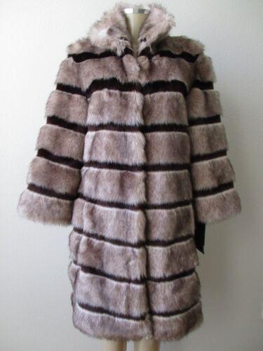 à Nwt Taille 4 Adrienne L marron manches rayures à faux manteau mélangé 3 Landau et 77T6pt