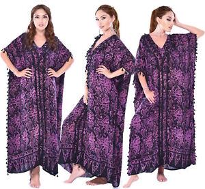 LotusTraders H820 Batik Art Patch One size Boho Caftan Lounge Maxi Dress