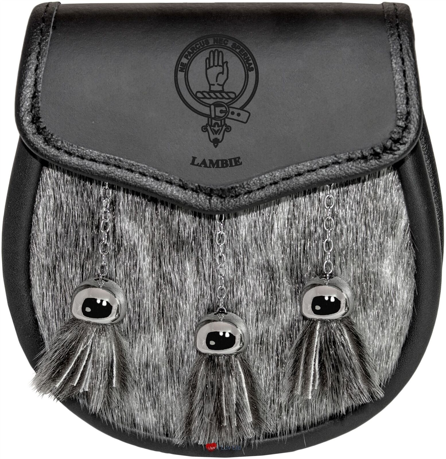 Lambie Semi Dress Sporran Fur Plain Leather Flap Scottish Clan Crest