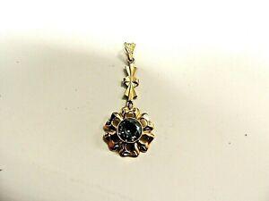 Vintage-Timeless-Classic-14-Karat-Gold-034-Flower-034-Dangling-From-Cross-Pendant