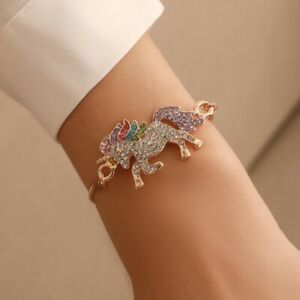 Hot-Colors-Horse-Unicorn-Rhinestone-Chain-Bracelet-Bangle-Women-Jewelry-Hot