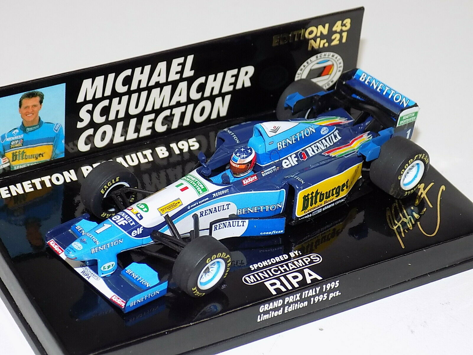 1 43 minichamps Benetton Ford B195  F1 M. Schumacher Italie 1995 MS coll  21  au prix le plus bas