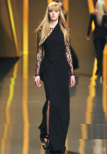 51abadff043 Image is loading ELIE-SAAB-Black-Silk-Lace-Sheer-Panel-Dress-
