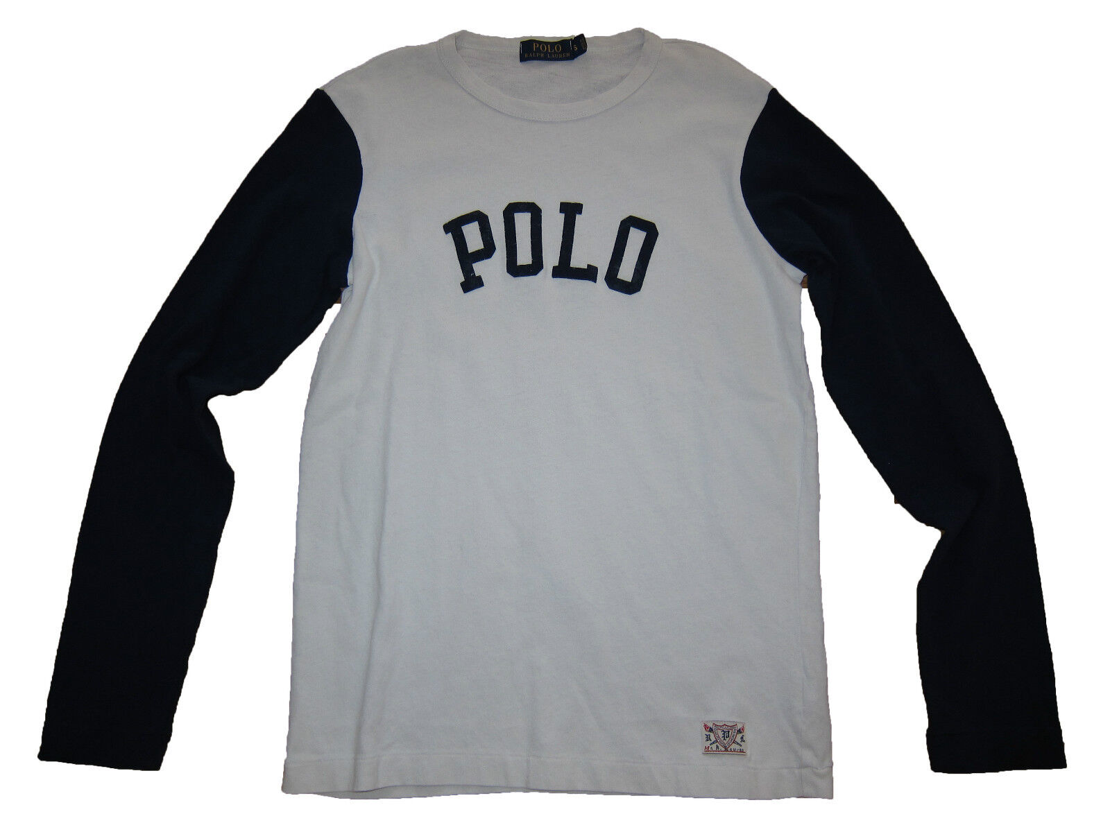 Polo Ralph Lauren White Navy bluee Varsity Logo Baseball Long Sleeve T Shirt XXL