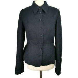 NEW-BNWT-39-Per-Una-M-amp-S-Size-14-Navy-Blue-Long-Sleeve-Linen-Shirt-Tie-Back