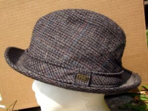 LONDON FOG vtg tan and blue UK fedora 1970s lrg wool hat size 7 with ... 1f01ed8060e