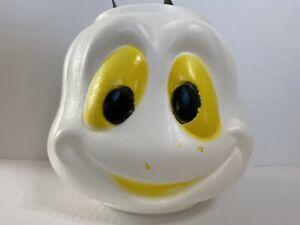 Halloween-Candy-Pail-Ghost-Casper-Blow-Mold-Trick-or-Treat-Bucket-Metal-Rivets
