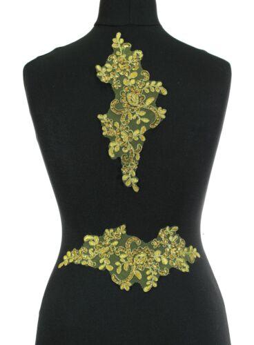 gold red 2  x Floral Lace Applique Bridal Wedding Sequined Motifs Black