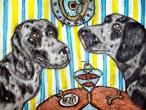 AMERICAN-LEOPARD-HOUND-Drinking-a-Martini-Pop-Vintage-Art-8-x-10-Signed-Print