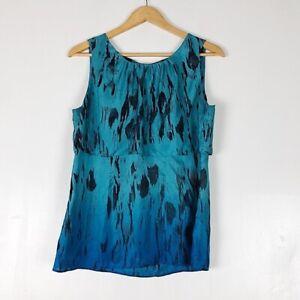 CAbi #142 100% Silk Serene Ombré Tiered Blouse Sz M