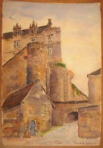 ObéIssant * Aquarelle Des Douves Du Château De St Germain En Laye Signé Durand Duruel