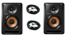 "PAIR Pioneer BULIT5 5"" Active Studio Monitor Powered Speaker W/ 20FT XLR Cables"