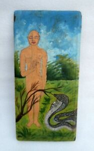 Vintage-Old-Lacquer-Oil-Painted-Hindu-Jain-God-Saint-Wooden-Wall-Hanging-Plaque