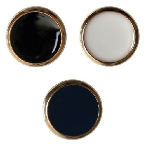 Pack of 4 Hemline Domed Gold Edged Shank Back Buttons 15mm