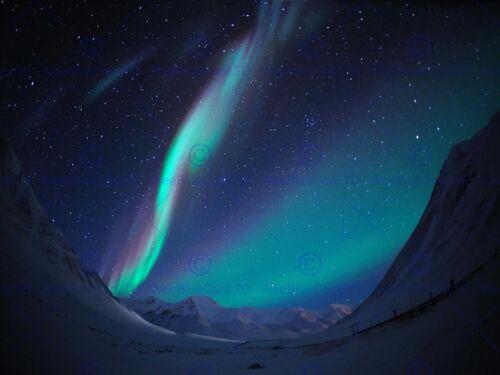 PHOTOGRAPHY LANDSCAPE WINTER AURORA BOREALIS NORTHERN LIGHTS ART POSTER MP3519B
