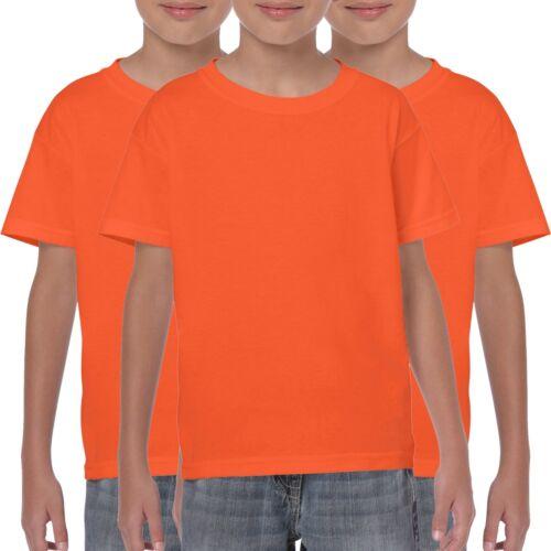 3 Confezione Gildan per Bambini T-Shirt Plain Ragazzi Ragazze T Shirts Bianco Nero Rosso Blu