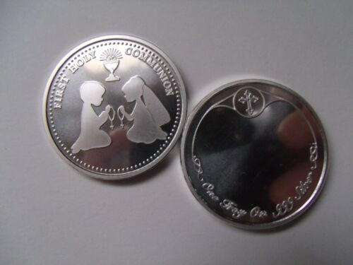First Holy Communion Gift 1 oz Fine 999 Silver Coin Free Custom Engraving