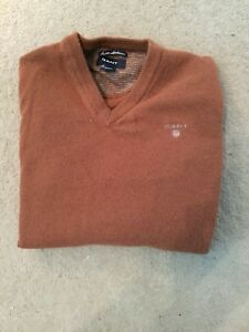 Mens-Gant-Lambswool-V-Neck-Sweater-Uk-Size-Small-Good-Condition