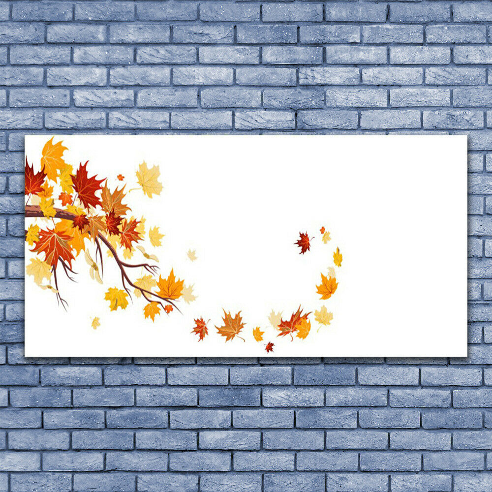 Glass print Wall art 140x70 Image Picture Leaves Art